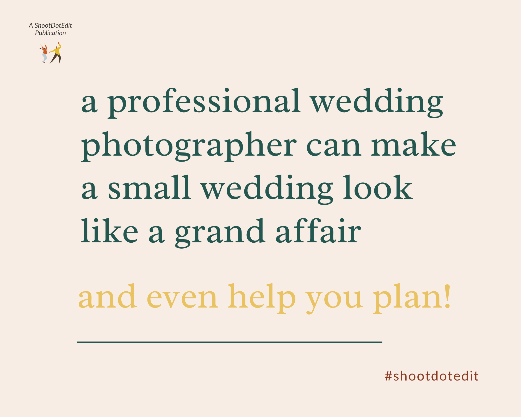 Infographic stating - a professional wedding photographer can make a small wedding look like a grand affair