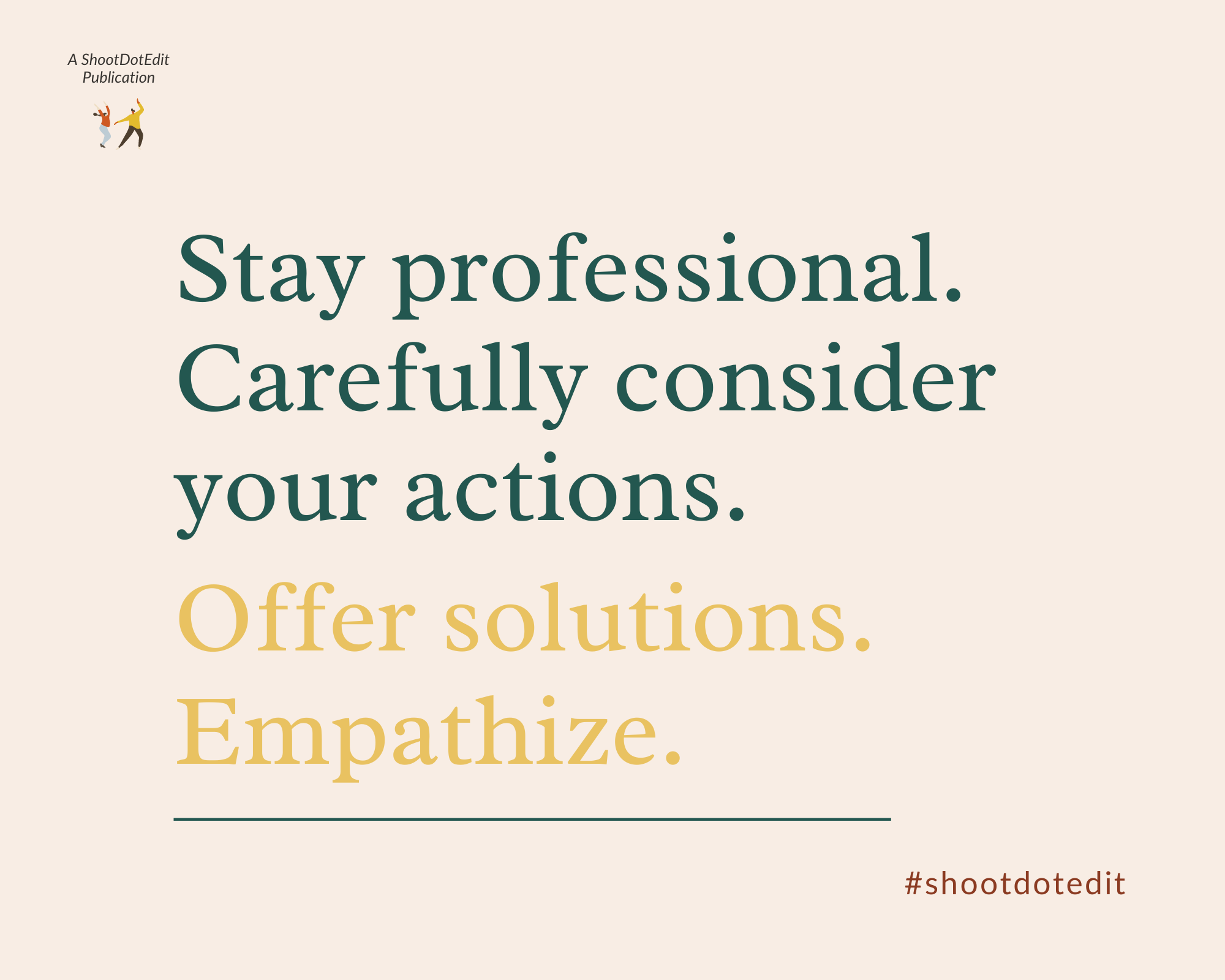 Graphic displaying - Stay professional. Carefully consider your actions. Offer solutions. Empathize