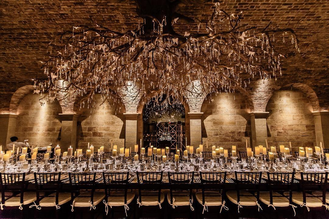 A banquet table set for a reception dinner