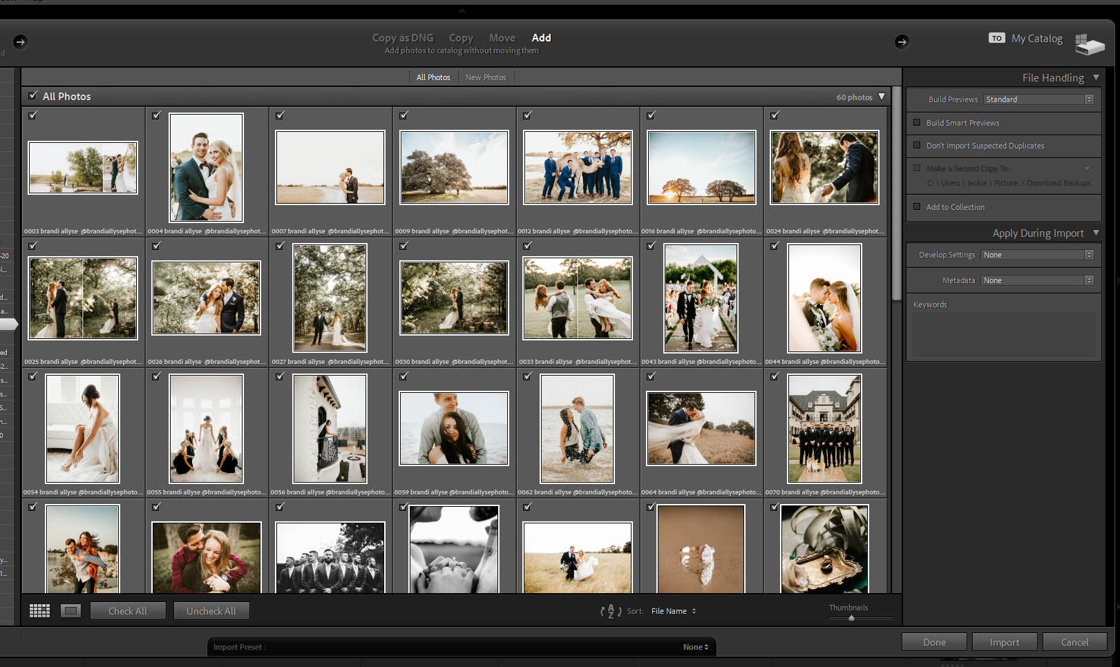 Images check marked in the thumbnail preview screen in Lightroom
