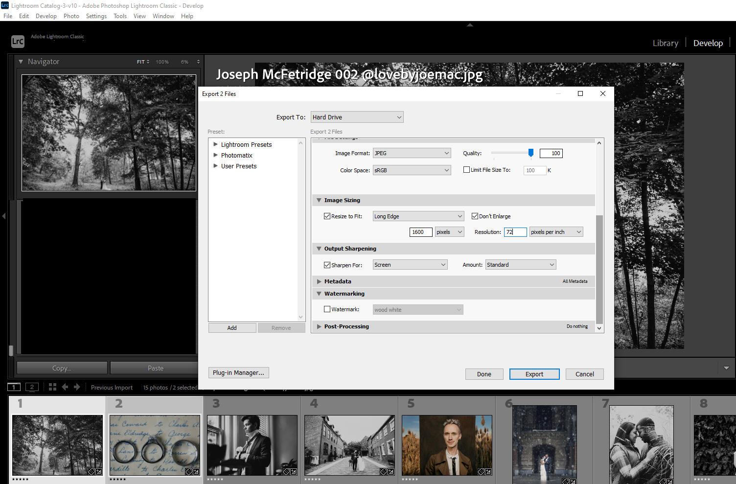 Lightroom export settings for websites
