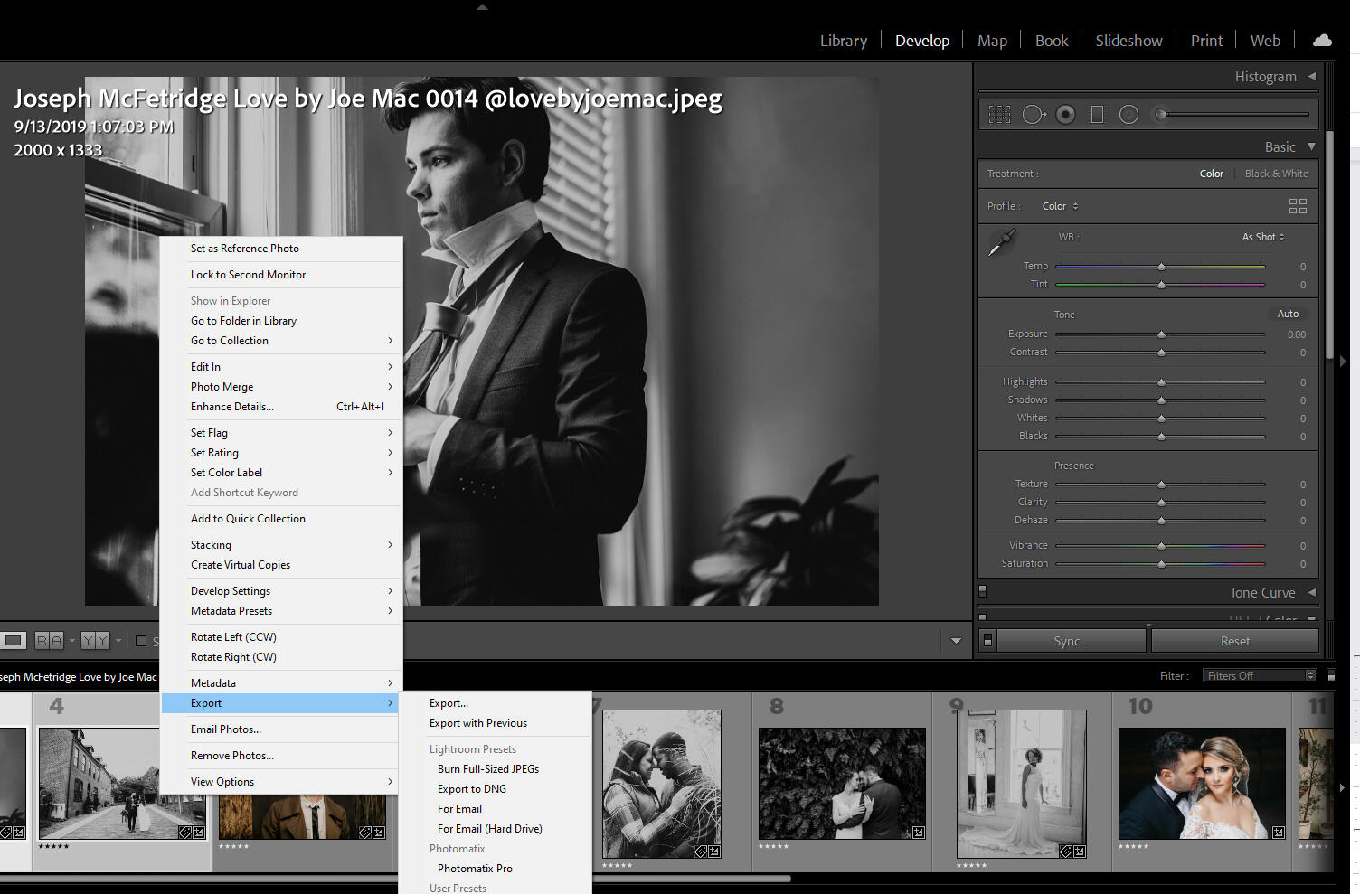 How to export from Lightroom