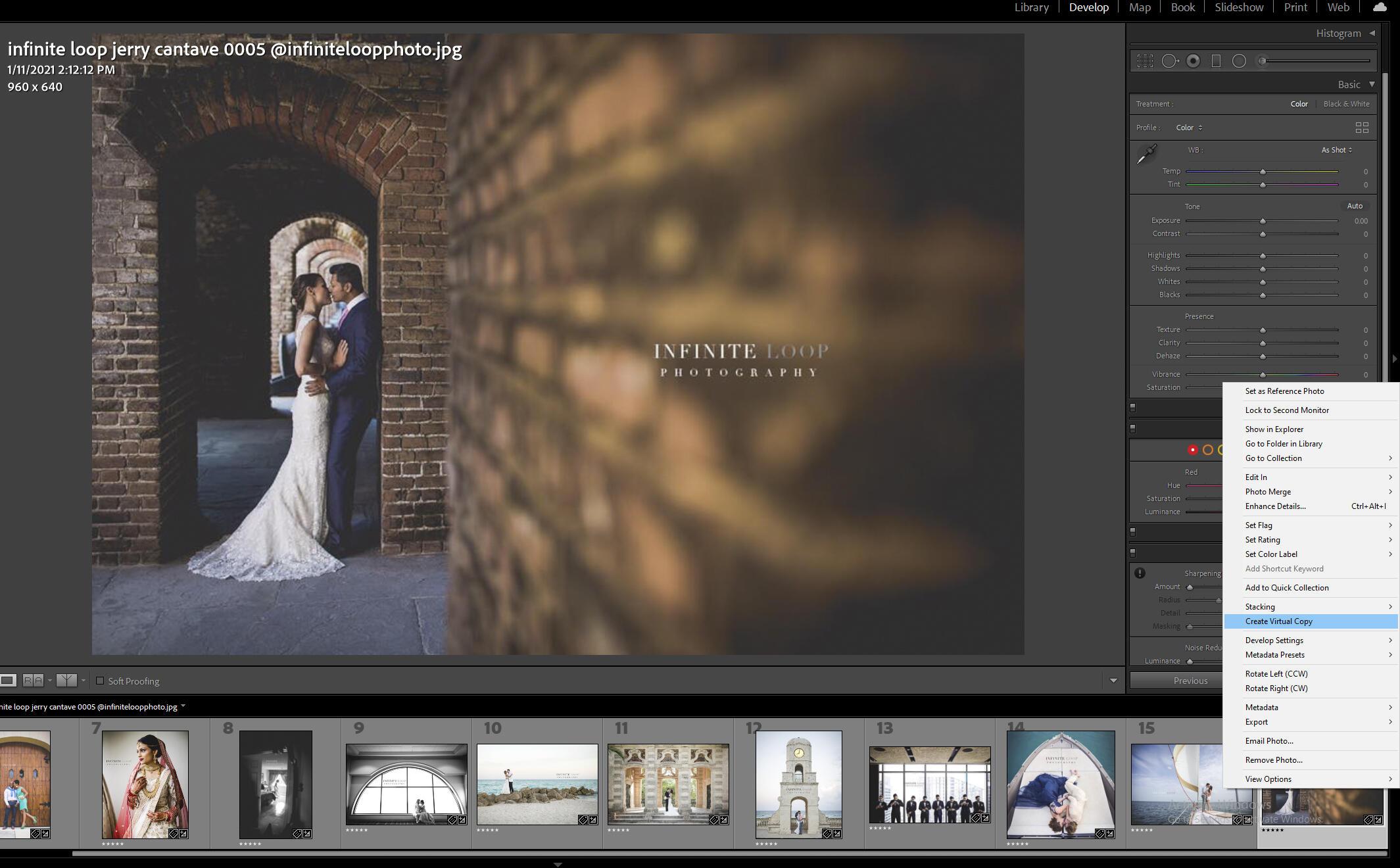 Creating virtual copy in Lightroom