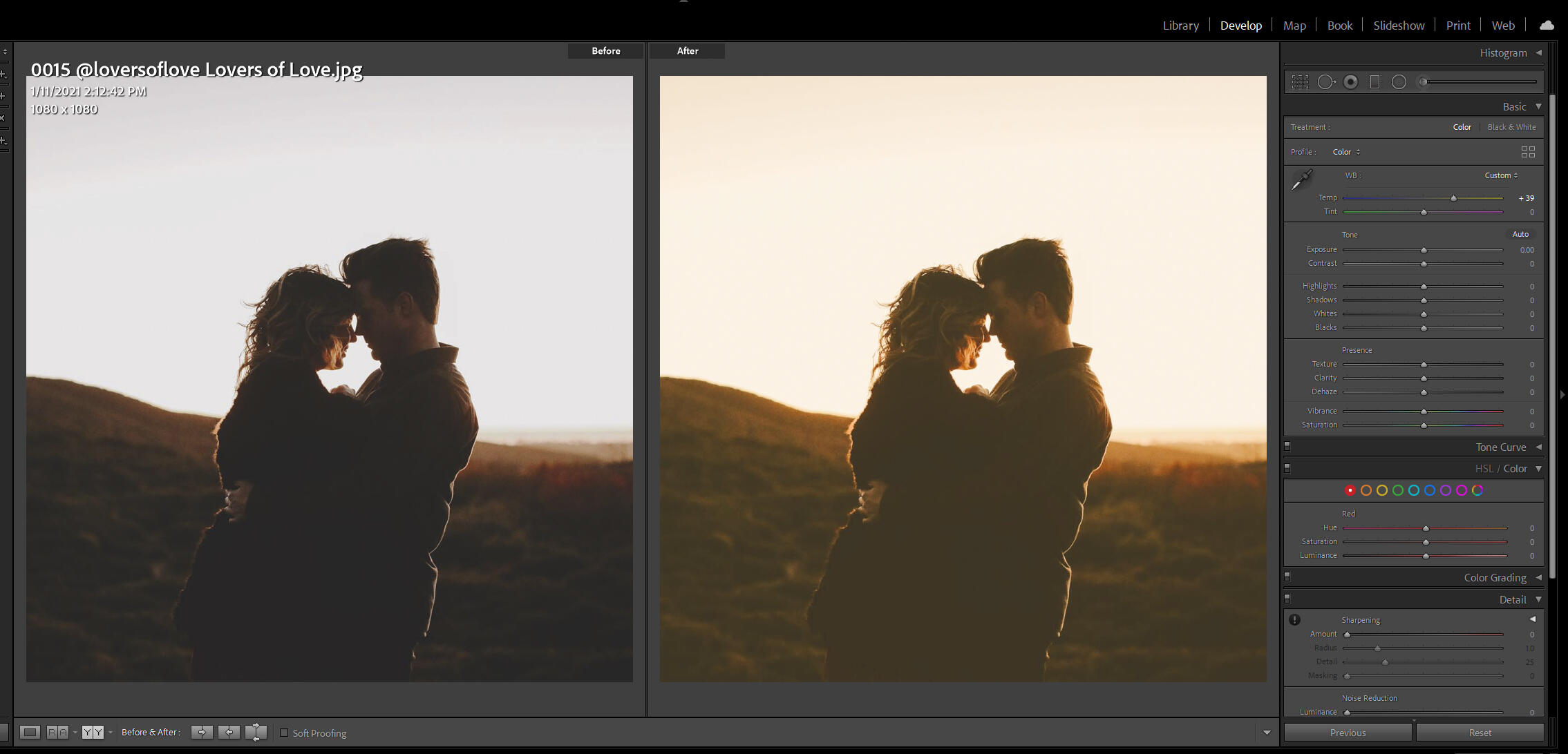 Screenshot of adjusting white balance in Lightroom