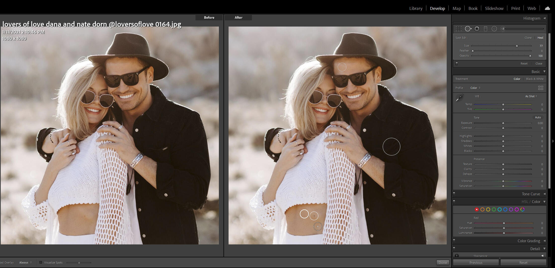 Removing blemishes while editing portraits in Lightroom