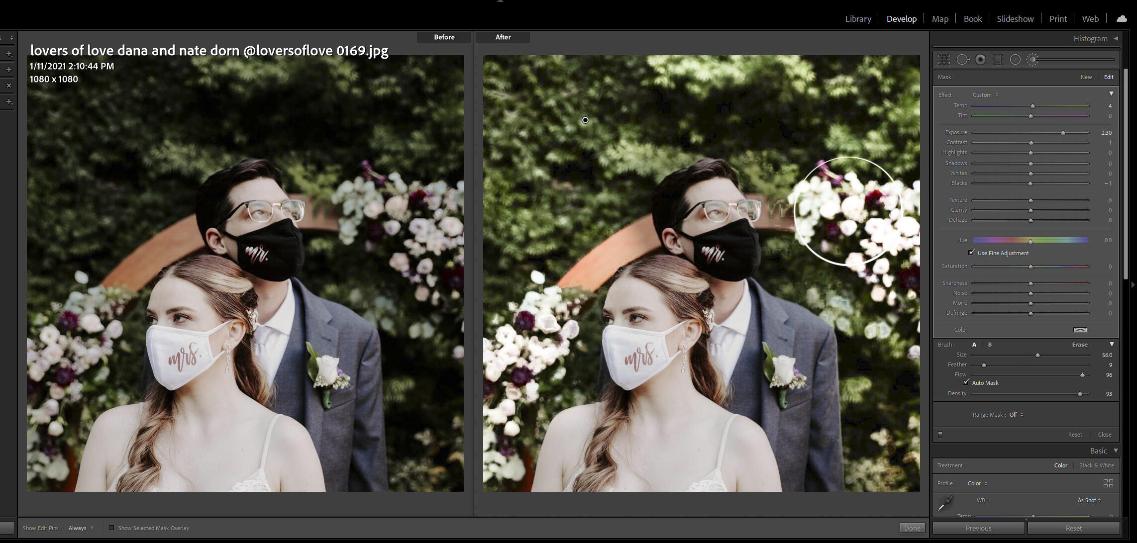 Lightening the background while editing portraits in Lightroom
